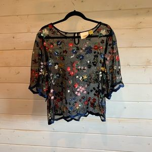 Maeve by Anthropologie   Sheer Floral Blouse